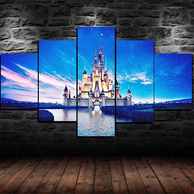Disney World Magic Kingdom Castle 5 Piece Canvas Home Decor Wall Art Decor 5 Piece Wizard