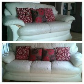 3 seater & 2 seater sofa cream leather sofa