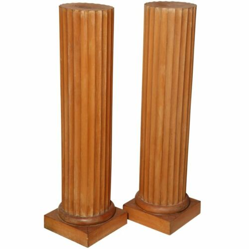 """PAIR 49"""" Classic ALL WOOD Fluted Ionic Pedestal Columns Square Plinth Base Italy"""