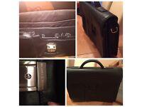 Bramble & Brown black leather briefcase