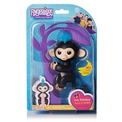 Authentic Fingerlings Interactive Toy Baby Monkey Finn Black W  Blue Hair Wowwee