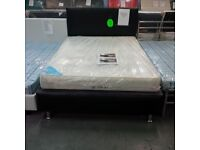 Brand new double hand made faux leather bed frame with memory mattress - free delivery