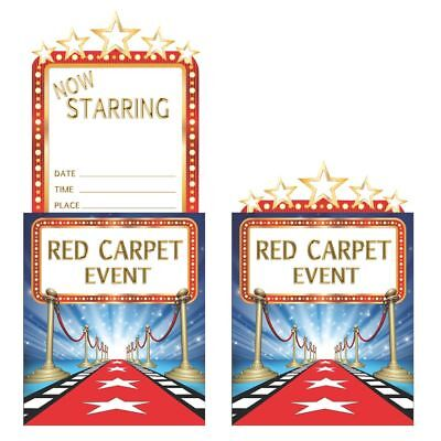 8 x Hollywood Lights Red Carpet Invitations Adults Party Invites Movie Night](Movie Night Invitations)