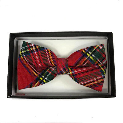 (Tuxedo Unique Style Red Pattern Plaid Neckwear Adjustable Adult Men Bow Tie )