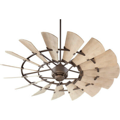 """Quorum Oiled Bronze Windmill 60"""" Outdoor Ceiling Fan with Weathered Oak Blades"""