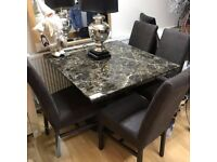 beautiful Mocha engineered marble dining table and chairs