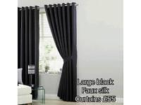 Curtains Large Black Faux Silk
