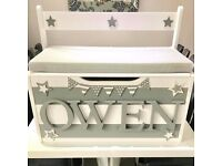 Personalised Bench Toy Box stylish storage with foam seat.