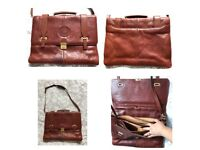 Grand Casino Swiss Brown Leather Men's Briefcase