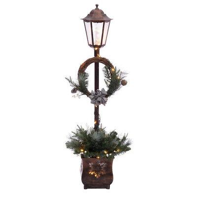 CHRISTMAS LAMP POST Wreath Pine Cones Outdoor Lighting Yard Decoration Pre-Lit