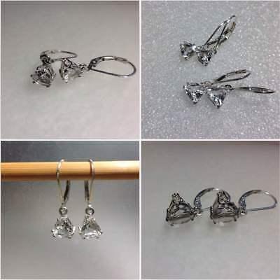925 Sterling Silver Trillion Cut Diamond Quartz Lever Back Earrings 6mm-8mm