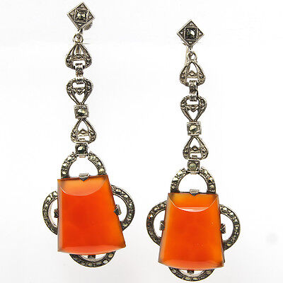 Deco Sterling Marcasites and Carnelian Pendant Screwback Earrings