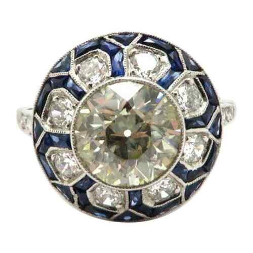 Gorgeous Flower Cluster Design Bezel Set White CZ & Blue Sapphire 4.58TCW Ring