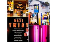 2 ALI SUN TANNING BEDS RE-TUBE RED MAXI TWIST COLLAGEN LAMPS