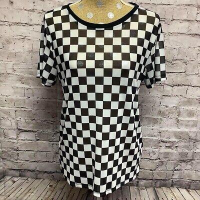 Hot Topic Women's Blouse Black/White Checkered Sheer Short Sleeve NEW sz MD