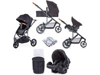 SHOP DISPLAY HAUCK PACIFIC 3 travel system black pram pushchair 3 wheeler with raincover £129
