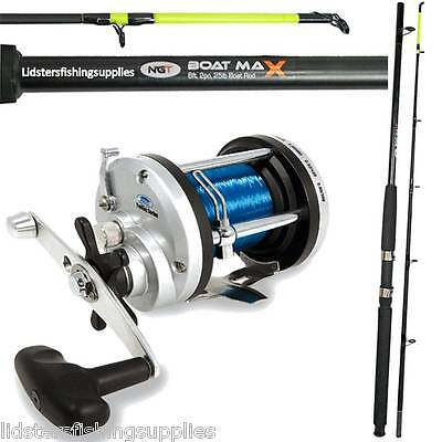 1 x Fishing NGT Boat Rod 6ft 2pc 25lb + 1 New Large Multiplier JD 500 Reel Sea