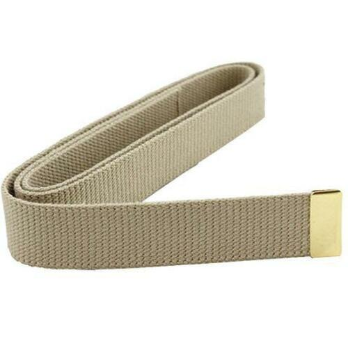 """Marine Corps Belt Khaki Cotton  55"""" X 1 X 1 1/4""""  24k Plated Tip (Made in USA)"""