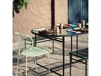 Swoon Clapham large 6 seater matt black dining table, indoor/outdoor glass topped. Ex display.