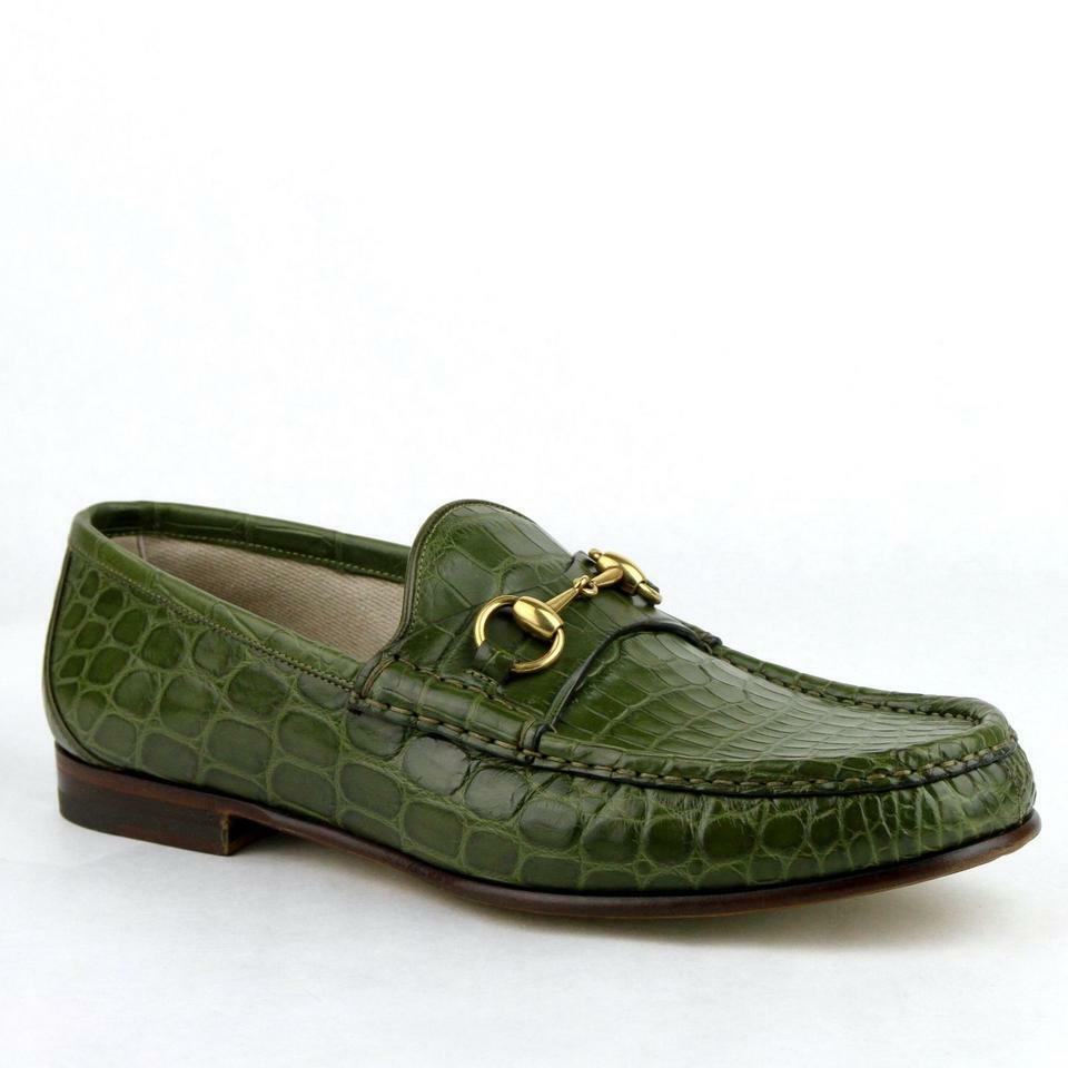 Gucci Men's Green Crocodile Leather Loafers w/Gold Horsebit 9/US 9.5 307929 2403
