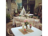 Vintage, floral, rustic WEDDING decorations/props - MIX GLASSWARE/ CANDLES FOR TABLE CENTERS £50 ono