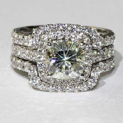4.00 Ct Cushion-Cut Lab-Diamond Halo Bridal Set Engagement Ring white Gold Over for sale  Shipping to South Africa