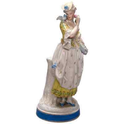 Antique Continental Musician Bagpipe Gentleman Lady Porcelain Figurine 6 15cm