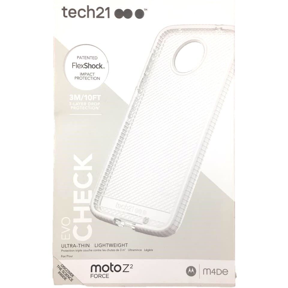 Tech21 Evo Check Case Slim Cover Protect for Moto Z2 Force Clear White NEW OEM