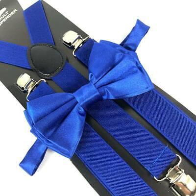 Royal Blue Bow Tie & Suspender Set Tuxedo Wedding Suit Formal Men's Accessories  Blue Mens Bow Tie