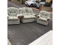 Vintage 2 Seat Sofa with 2 Armchairs in Great Condition