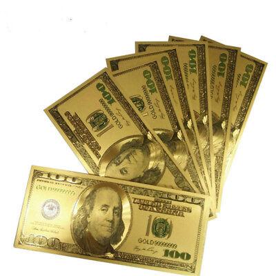 100pcs Novelty Gold Plated Color money US Older Version 100Dollar Banknote bills