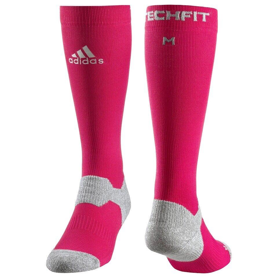 Adidas Techfit™ Kompression Socken Knie Strümpfe Laufsocken Damen Herren pink