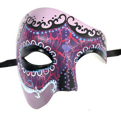 Purple Phantom Day of the Dead Glitter Mask Half Face Halloween Party Men Mask (Half Dead Face Halloween)
