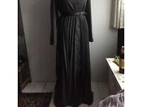 Grey pleated abaya maxi dress.