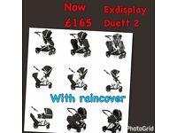 Unused shop display HAUCK DUETT2 twin tandem double pram pushchair buggy carrycot unisex black