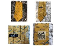 HERMES PARIS 100% Silk Tie - Yellow with Blue Planes and Clouds
