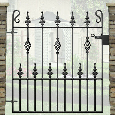 Safety Spear Top Single Garden Gates Wrought Iron Metal Steel Gate | 3ft Opening