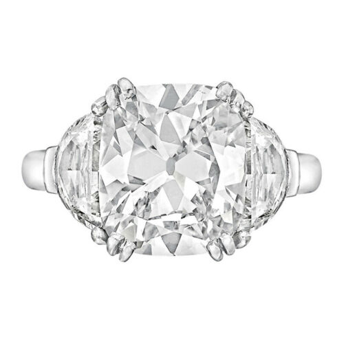 Cushion & Half Moon Cut Diamond Engagement Ring Platinum 1.90 CT GIA Certified
