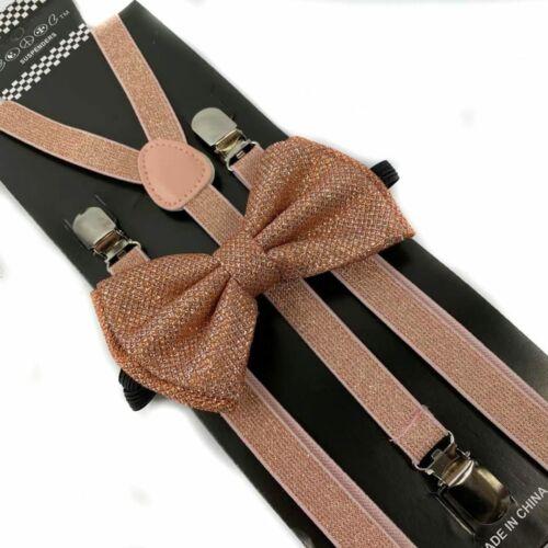 Rose Gold Glitter Skinny Suspender And Bow Tie Set Tuxedo Wedding Formal