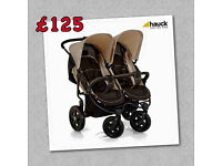 BRAND NEW IN BOX HAUCK SIDE BY SIDE ROADSTER DUO TWIN DOUBLE PRAM PUSHCHAIR BIRTH TO 3 YEARS