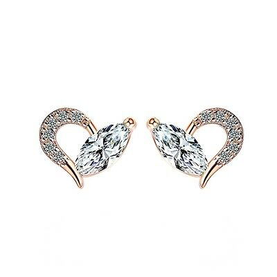 Dreamy rose gold plated oval micro paved heart cubic zirconia stud earrings