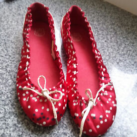 Red satin pumps by Deisel UK size 5