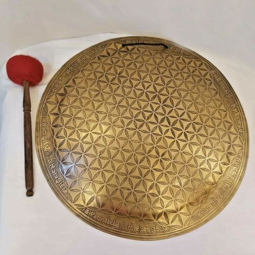 21 inches Diameter flower of life carved Handmade temple gong from Nepal- Chakra