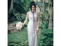 Off White Lace Casual Wedding Dress with Black Ribbon