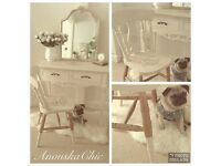 Shabby chic dressing table/desk chair and mirror