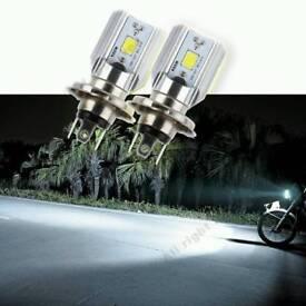 2x H4 cob headlight bulbs
