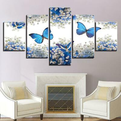 Flowers and Butterflies 5 panel canvas Wall Art Home Decor Poster Print ()