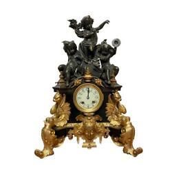 Antique French Painted Dore Bronze Cherub Figural Design Mantle Clock