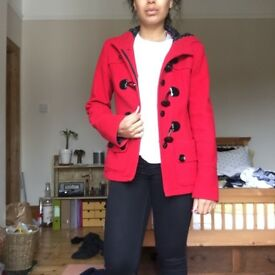 Double-Breasted Wool Winter Coat, Red, UK 8, Laura Ashley