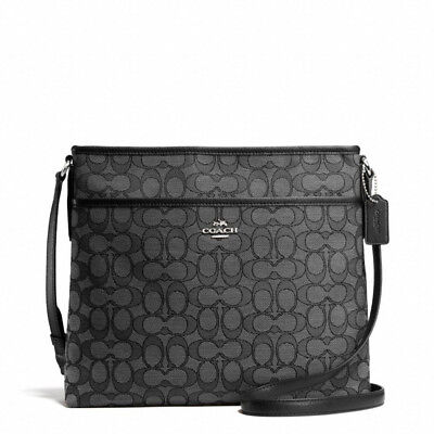 New Coach F58285 Signature File Bag Crossbody Handbag Black Smoke $195 NWT